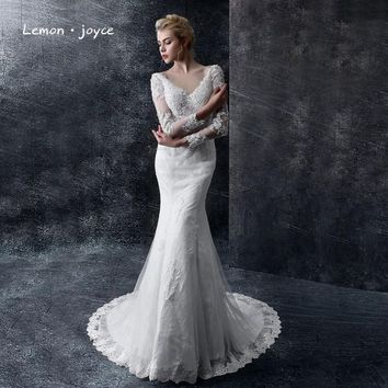 Luxury Wedding Dresses 2016 New Elegant V-Neck Lace Sexy Backless Bride Married Vintage Long Sleeve Wedding Gowns