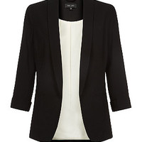 Black Crepe Knotch Blazer