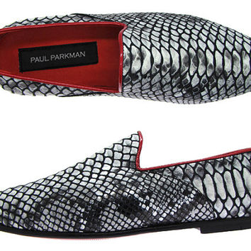 Paul Parkman Men's Slipper Shoes Gray Snake Printed Leather Upper & Leather Sole