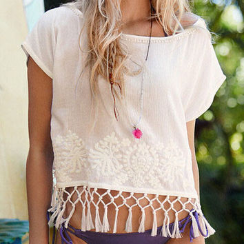 Loose embroidery Solid color blouse