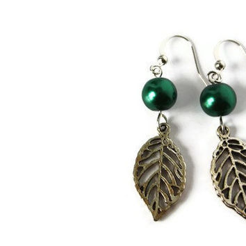 Forest Green Earrings with Glass Pearls and Leaf Charm on Nickel Free Hooks. Charm Earrings.