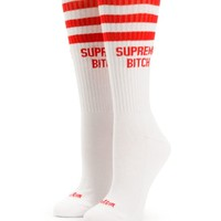 Married To The Mob Supreme Bitch Red Crew Socks