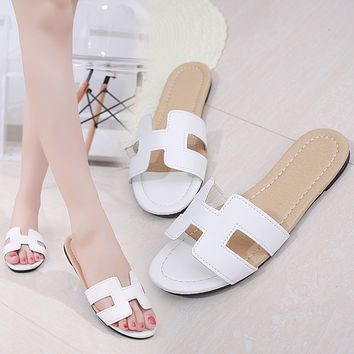 Hermes Tide brand H letter female models non-slip flat bottom with sandals white