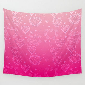 Pink Wall Tapestry Pink Ombre Light To Bright Pink Love Valentines Dorm Room Baby Girl Nursery Bedroom Home Decor
