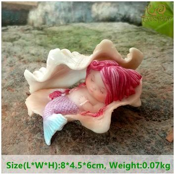 Everyday Collection Resin Shell Mermaid Terrarium Figurine Fairy Garden Decoration & Vintage Home Decoration Accessories
