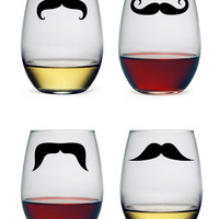 Moustache Theme Stemless Wine Glasses (Set of 4)