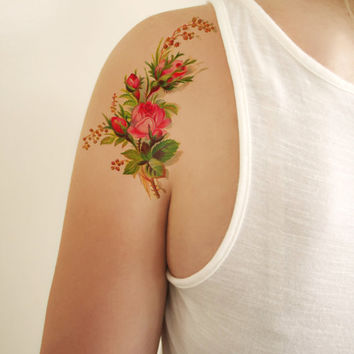 Floral vintage temporary tattoo design