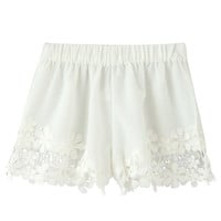 Whited Floral Lace Detailed Shorts