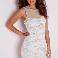 SLEEVELESS FLORAL LACE MESH MINI DRESS WHITE