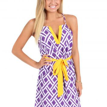 Put Your Hands Up Purple And Gold Dress | Monday Dress Boutique