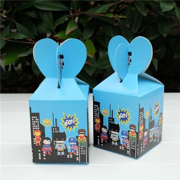 6pcs/lot Avengers Batman Ironman Superman hero Favor Box Gift Box Cupcake Box Kids Birthday Party Supplies  Event Party Supplies