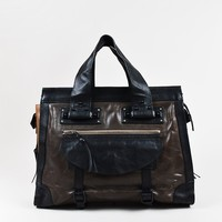 Chloe Grey Brown Black Buckled Strap Multi-Pocket Leather Tote Bag