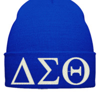 delta sigma ,embroidery hat - Beanie Cuffed Knit Cap