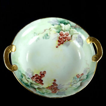 Antique Noritake Nippon Bowl w Handles Grapes and Vines Hand Painted