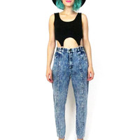 80s Acid Wash Jeans High Waist Skinny Fit Tapered Mom Jeans Hipster Saved by The Bell Denim (M/L)