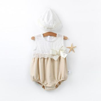 2 Piece Newborn Infant Toddler Baby Girls Lace Jumpsuit Romper And Hat Set