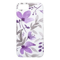 Watercolor Flowers - Rustic Floral Purple iPhone 7 Case