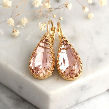 Blush Earrings, Bridal Blush Earrings, Blush Drop Earrings, Bridesmaids Earrings, Blush Drop Crystal Earrings, Swarovski Blush Earrings