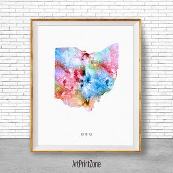 Ohio Print Ohio Art Print Ohio Decor Ohio Map Art Print Office Print Map Print Map Poster Watercolor Map Office Poster ArtPrintZone