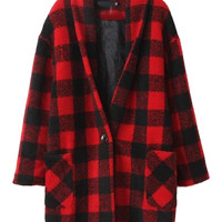 Red Plaid Pattern V Neck Single Button Long Sleeve Coat