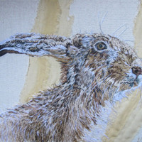 Brown Hare original textile artwork » Craftori