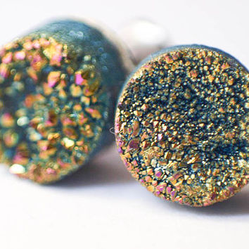 Boho Earrings - Green Sparkling Moon - Rainbow Colorful Green Toned Raw Druzy Round Titanium Stud Earrings - Post, Jewelry, Hippie, Hipster