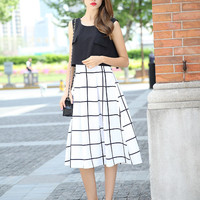 Block Plaid Double Layered Sleeveless Dress
