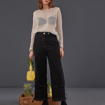 DIDDI Raw Hem Wide Leg Denim Pants