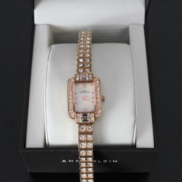 Pretty Anne Klein Women Dress Watch Gold Tone Rectangle Face Rhinestones