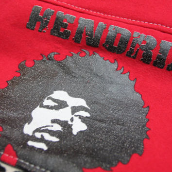 JIMI HENDRIX - Upcycled Rock Band T-shirt Clutch Bag - OOAK