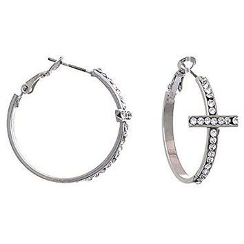 Womens Jewelry, Unique Design Side Cross Hoop Casting Earrings with Crystal Accents. Length: 1.5 Inch.