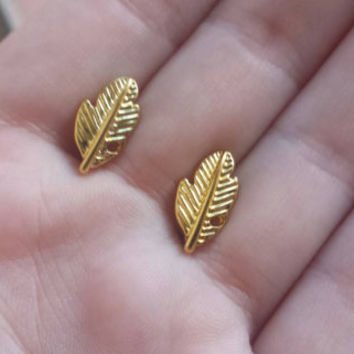 Leaf Earrings - Stud Earrings - Charm Earrings - Gold Plated Jewelry - Fall Earrings