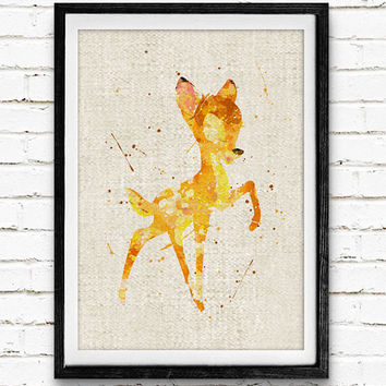 Bambi Poster, Disney Watercolor Art Print, Kids Room Wall Art, Home Decor, Gift, Not Framed, Buy 2 Get 1 Free!