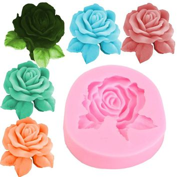KiWarm 1PC 3D Beautiful Rose Soap Making Mould Silicone Mould Soap Mold Candle Resin Molds DIY Crafts Handmade Tools Supplies
