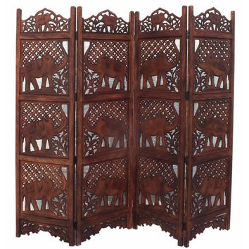 Hand Carved Elephant Design Foldable 4-Panel Wooden Room Divider, Brown- Benzara