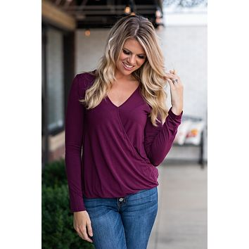 Thanks To You Criss Cross V Neck Top : Raisin