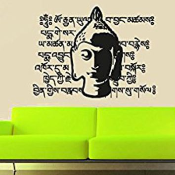 Wall Decal Vinyl Sticker Decals Art Decor Design Buddha Statue Indian Yoga Om Pray God Kharma Chakras Style Dorm Bedroom Office (r1022)