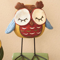 Cute Sleepy Owl Figure W/Metal Feet  Dresser Mantel Table Display Home Decor New