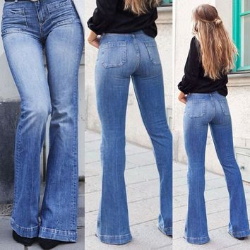 Women's Fashion High Waist Wide Leg Denim Jeans