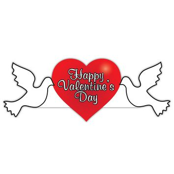 Valentine's Lawn Decoration - Happy Valentine's Day Dove 2' x 4' Sign