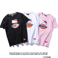 """DicKies""fashion print white women round neck short sleeve Top"