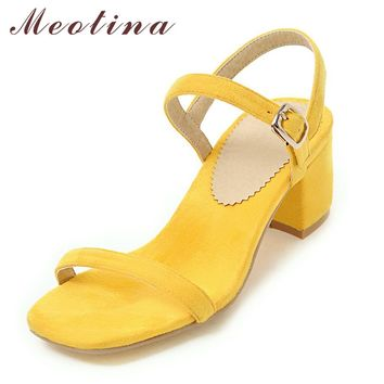 Meotina Design Shoes Women Sandals Summer 2018 Chunky Heel Sandals Open Toe Buckle Party Mid Heels Yellow Red Plus Size 9 42 43