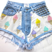 Vtg Ice Cream Gelati Studded HIGH WAISTED Cut Off Faded Denim FESTIVAL Shorts S