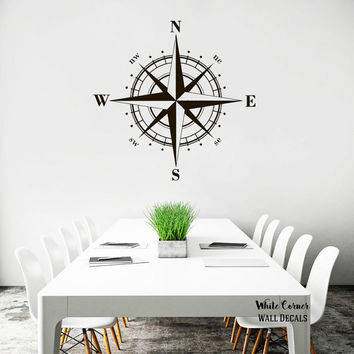 rta206 Compass Rose Nautical Navigate Ship Ocean Beach Living Room Bedroom Office Nursery Wall Decal Vinyl Sticker Decals Art Decor Design