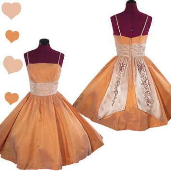 Dress Vintage 50s Peach Satin FULL SKIRT Prom Party Dress XS S Rockabilly Sequin Pinup