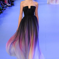 Elie Saab New Gradient Colorful Ombre Chiffon Prom Dress Evening Dress Strapless with Pleats Women Dress Navy Lily Collins
