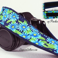 dSLR Camera Strap, Blue Asters, Aqua, Navy, Green, Floral