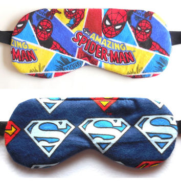 Superhero Sleep Mask - Spiderman - Superman Eye Night - Cotton Flannel - Soft Dark Travel Eyemask - Elastic - Unisex Adult Man Woman Teen