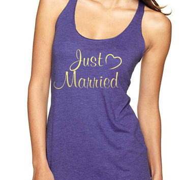 Just married Gold Women Triblend Tanktop