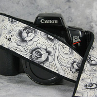 Camera Strap, Rose in Black and Antique White, dSLR or SLR, Camera Neck Strap, 178 w